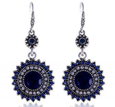 Серьги подвески с синими камнями Селин