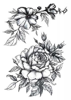 Временное тату — Ассорти цветов TH — 173